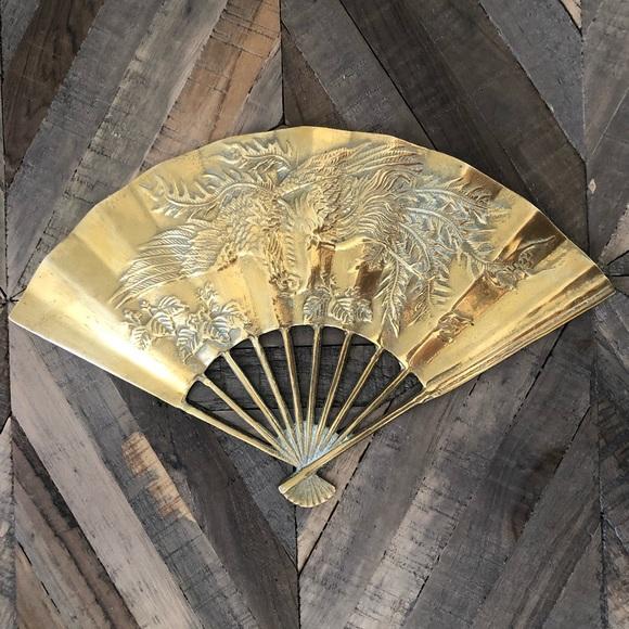 Vintage Brass Fan with Asian Dragon Bird Design